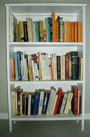 A bookcase filled with books