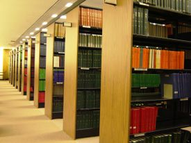 Parallel arrangement of bookshelves.