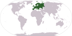 World map showing Europe