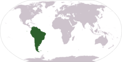 World map showing South America